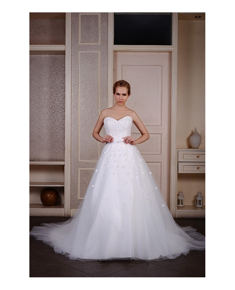 Ball-Gown Sweetheart Court Train Tulle Wedding Dress With Beading Bow