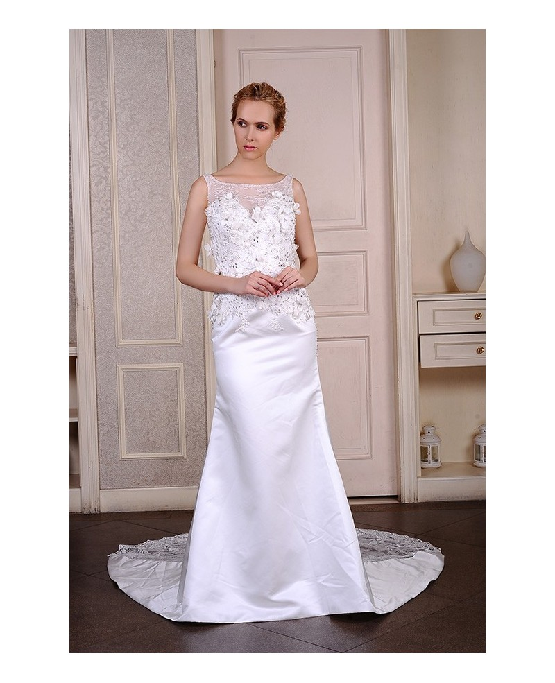 Mermaid Scoop Neck Sweep Train Satin Wedding Dress With Beading Appliques Lace Flowers