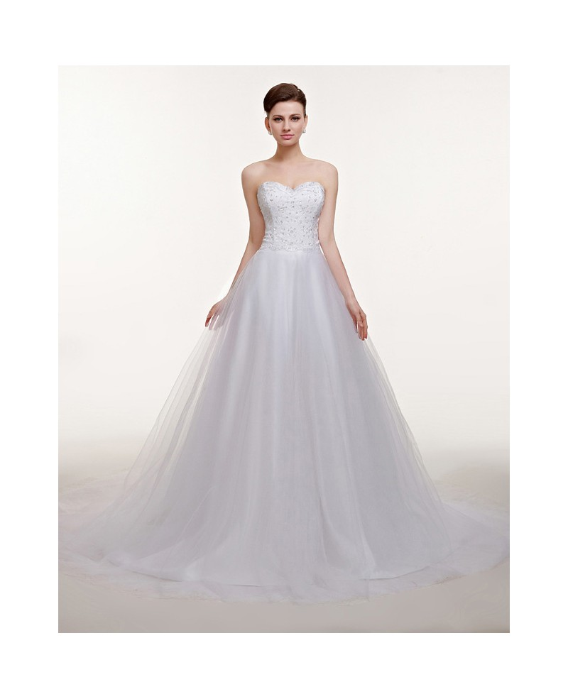 Sequined Lace Top Sweetheart Empire Tulle Wedding Dress Long Train