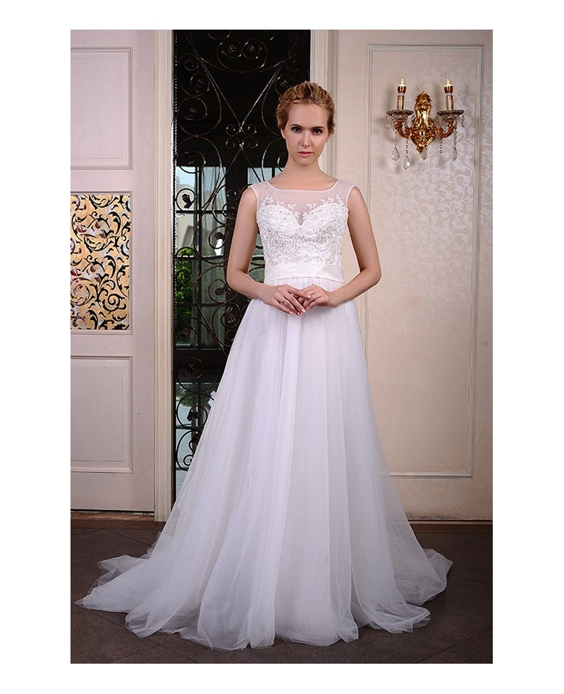 A-Line Scoop Neck Court Train Organza Wedding Dress With Beading Appliques Lace