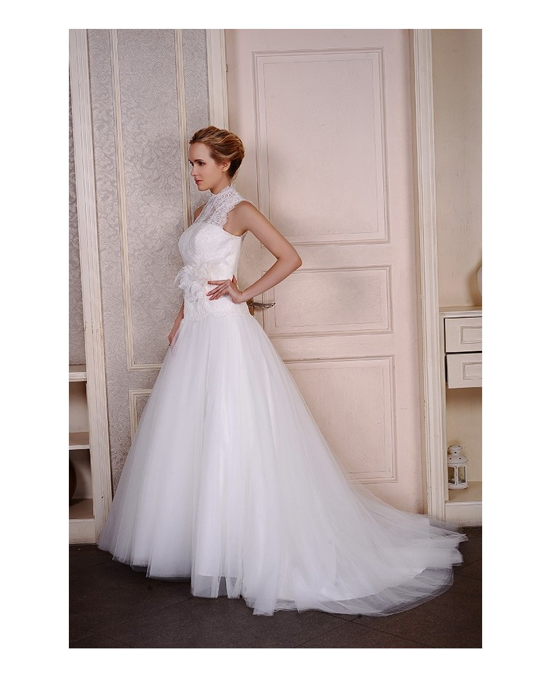 Ball-Gown High Neck Court Train Tulle Wedding Dress With Appliques Lace Flowers