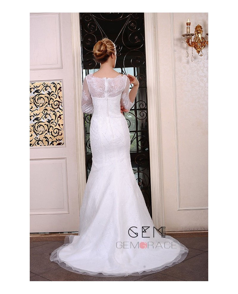 Mermaid Scoop Neck Sweep Train Organza Wedding Dress With Beading Appliques Lace