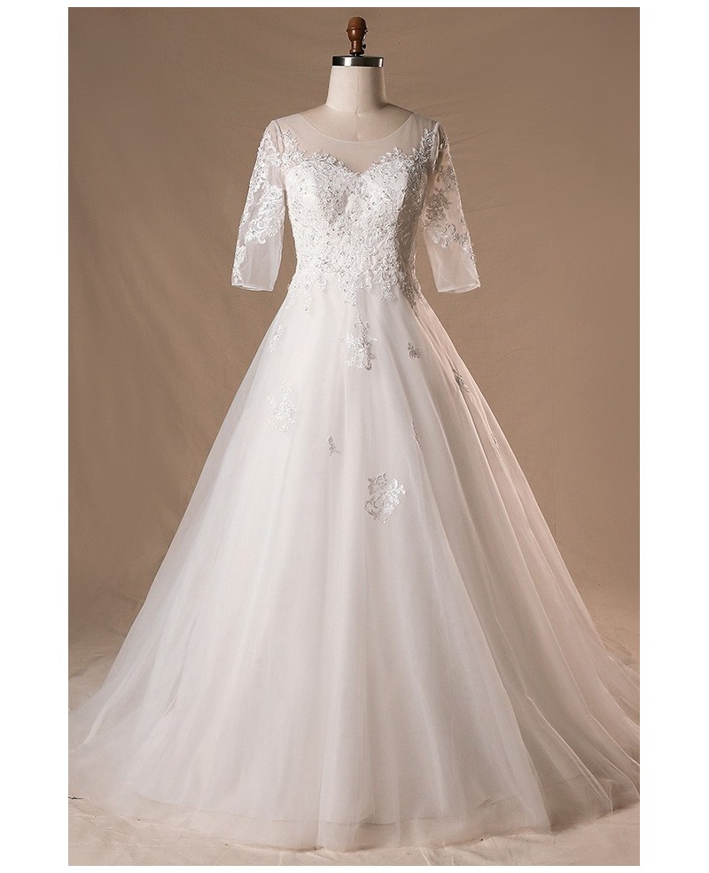 Plus Size Sheer Round Neck Lace Wedding Dress With Half Sleeves