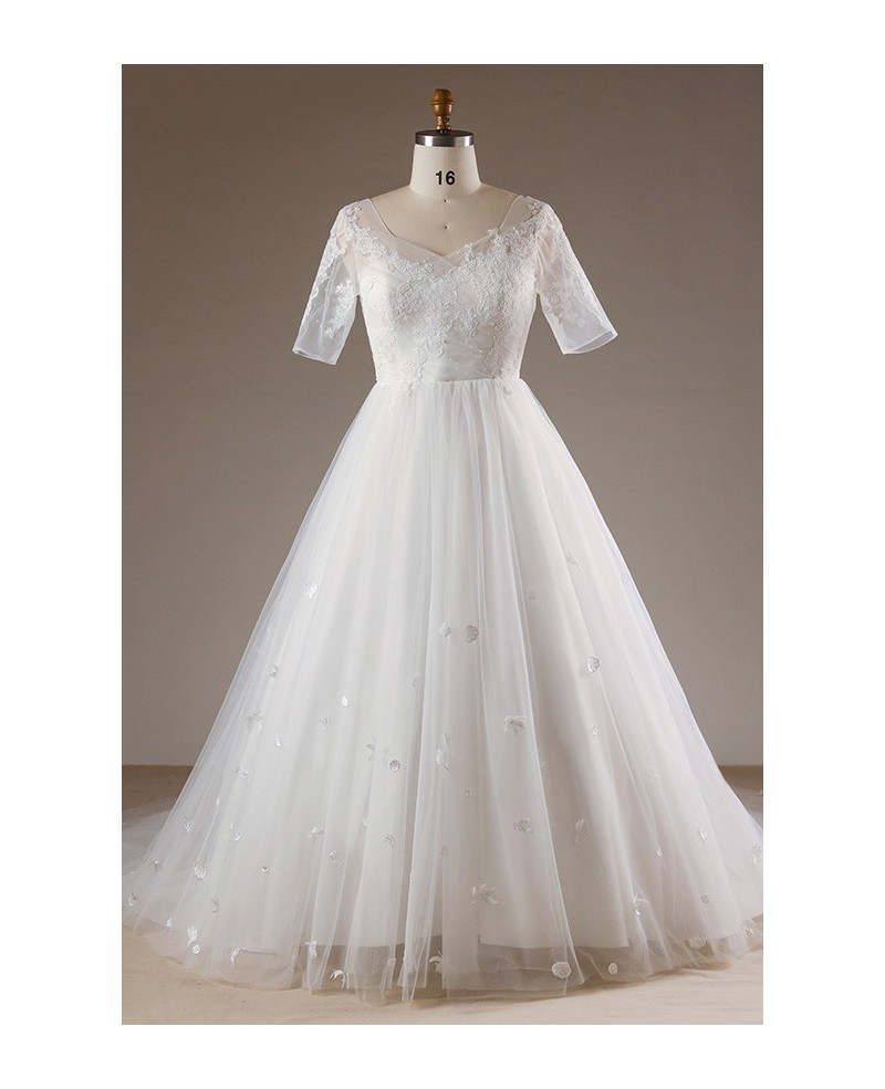 Plus Size Flowers Lace Long Tulle Beach Wedding Dress With Short Sleeves Wd24438 Wedding Dresses,Trusted Online Wedding Dress Sites