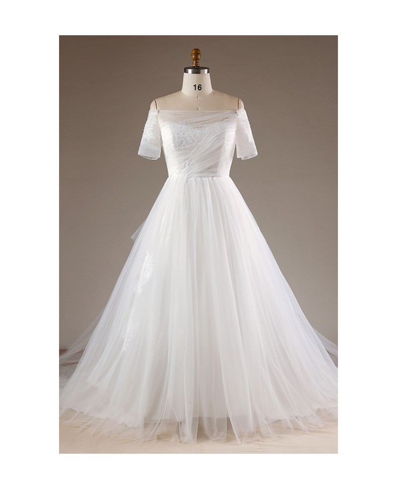 Simple Plus Size Off Shoulder Tulle Wedding Dress With Lace Back