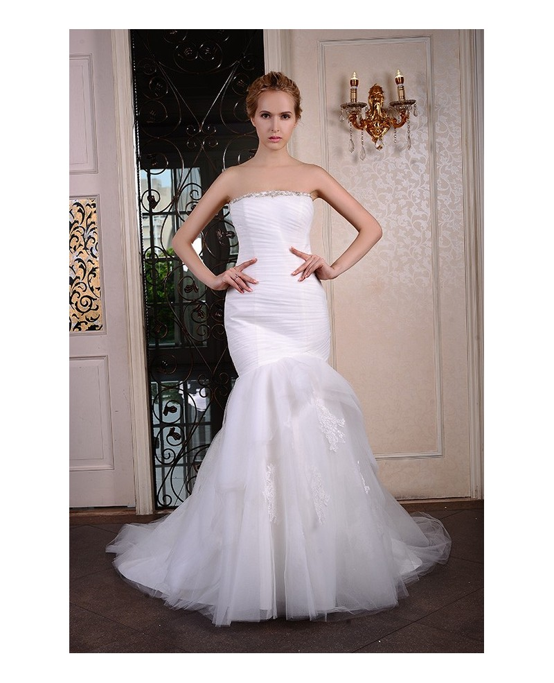 Mermaid Strapless Court Train Organza Wedding Dress With Beading Appliques Lace Pleated