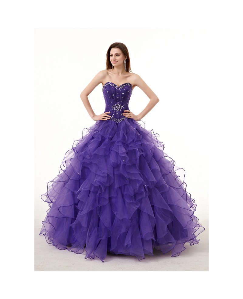 Strapless Sweetheart Ballgown Beaded Puffy Prom Dress with Corset