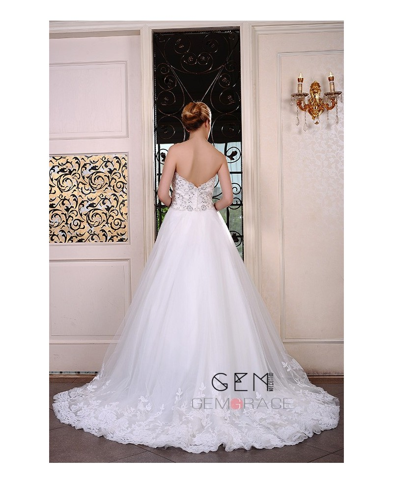 Ball-Gown Sweetheart Chapel Train Tulle Wedding Dress With Beading Appliques Lace