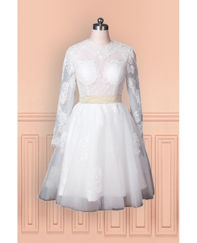 Vintage Tulle Lace Wedding Dress With Long Sleeves In Knee Length