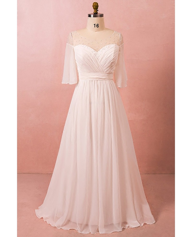 Plus Size Bohemian Chiffon Beach Wedding Dress With Sleeves Affordable