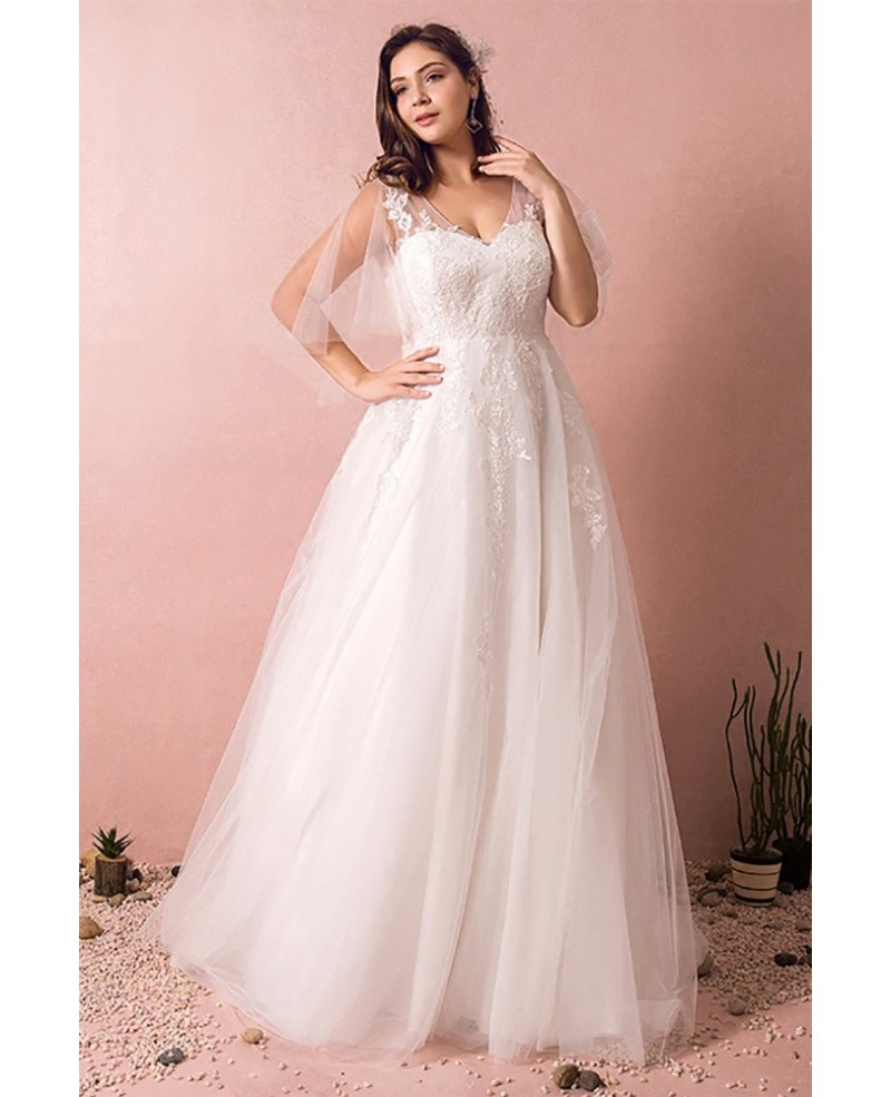 Plus Size Tulle Beach Wedding Dress Boho With Sleeves 2018