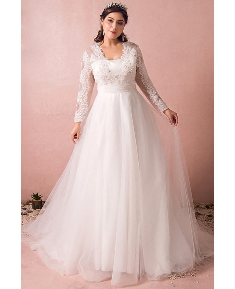 Modest Long Lace Sleeve Plus Size Wedding Dress Tulle Beach Weddings Wd25463 Wedding Dresses,Ready To Wear Wedding Dresses Canada