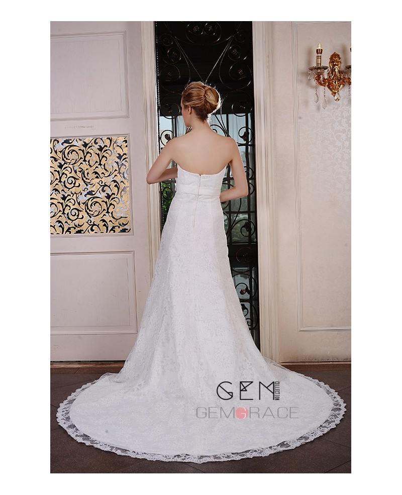Sheath Strapless Chapel Train Lace Wedding Dress With Beading Flowers