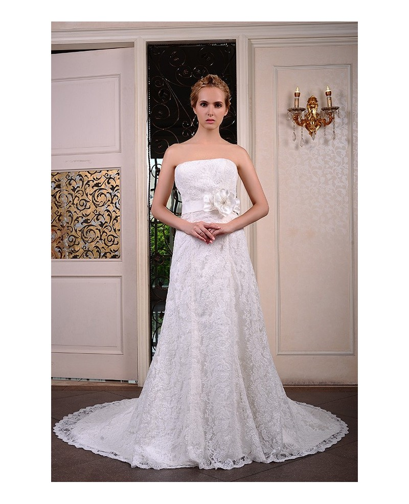A-Line Strapless Court Train Lace Wedding Dress With Beading Flowers
