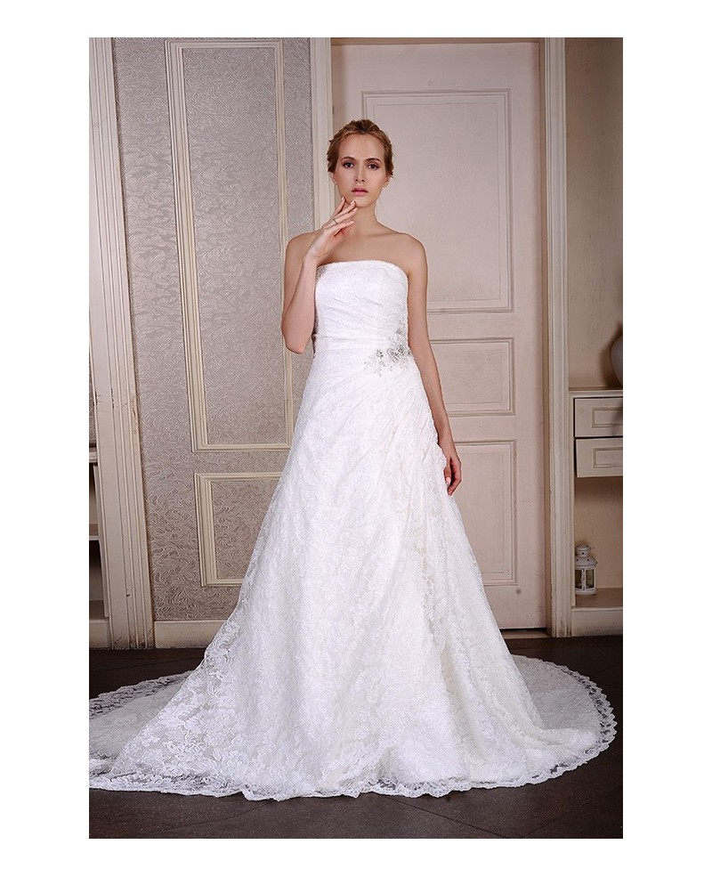 Ball-Gown Strapless Court Train Satin Tulle Wedding Dress With Appliques Lace