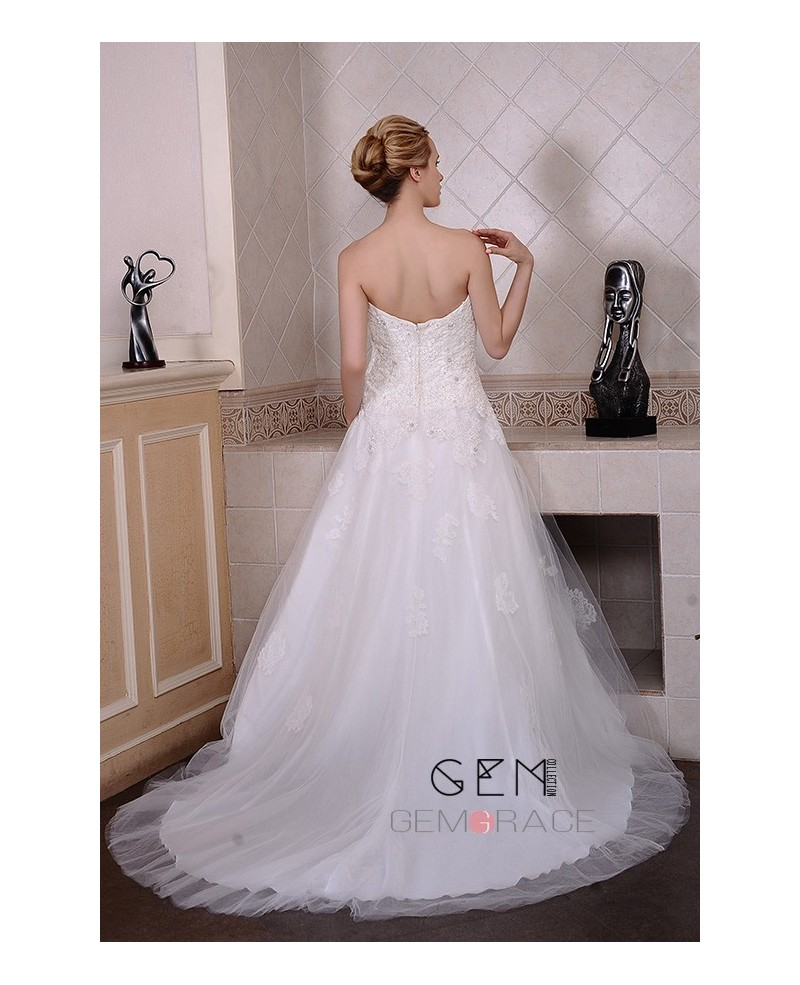 A-Line Sweetheart Court Train Tulle Wedding Dress With Beading Appliques Lace