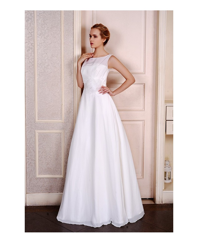 A-Line Scoop Neck Floor-Length Chiffon Wedding Dress With Flowers