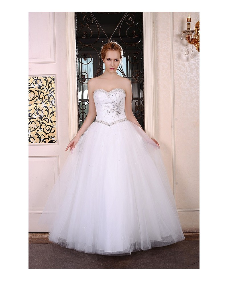 Ball-Gown Sweetheart Sweep Train Tulle Wedding Dress With Beading Sequins
