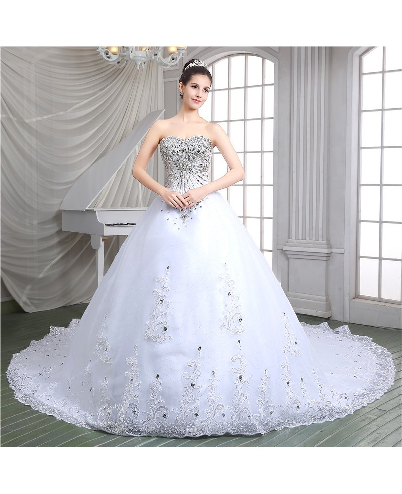 Ball-gown Sweetheart Cathedral Train Wedding Dress