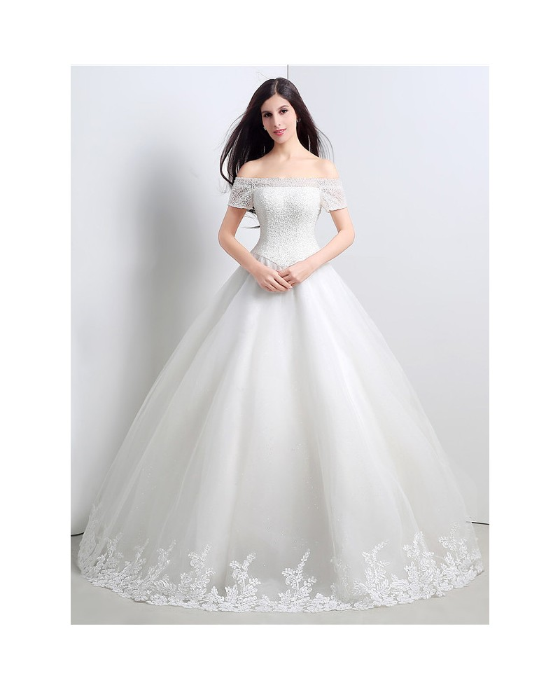 Ball-gown Off-the-shoulder Short Strap Floor-length Wedding Dress