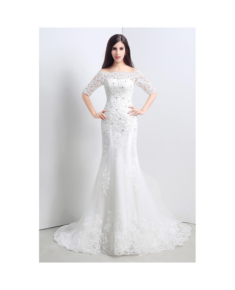 Mermaid Off-the-shoulder 1/2 Sleeves Court-train Wedding Dress with Lace