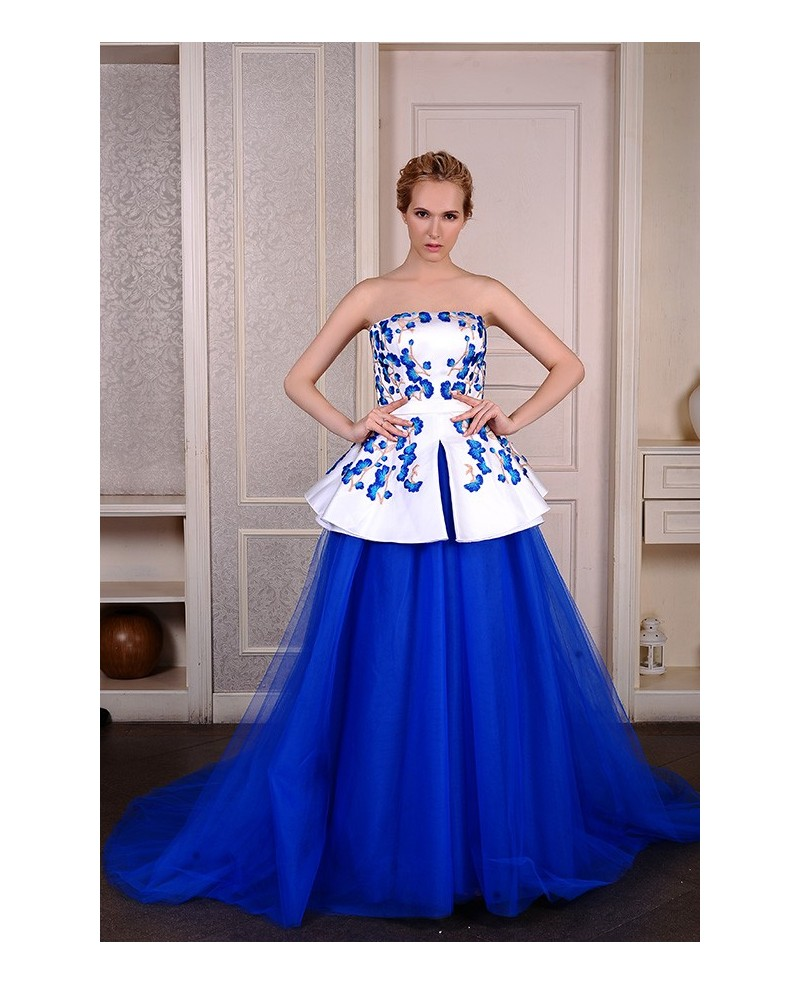 Ball-Gown Strapless Chapel Train Satin Tulle Embroidered Wedding Dress