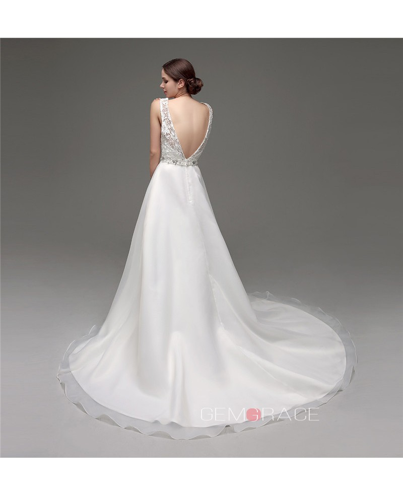 A-line Scoop Court Train Wedding Dress