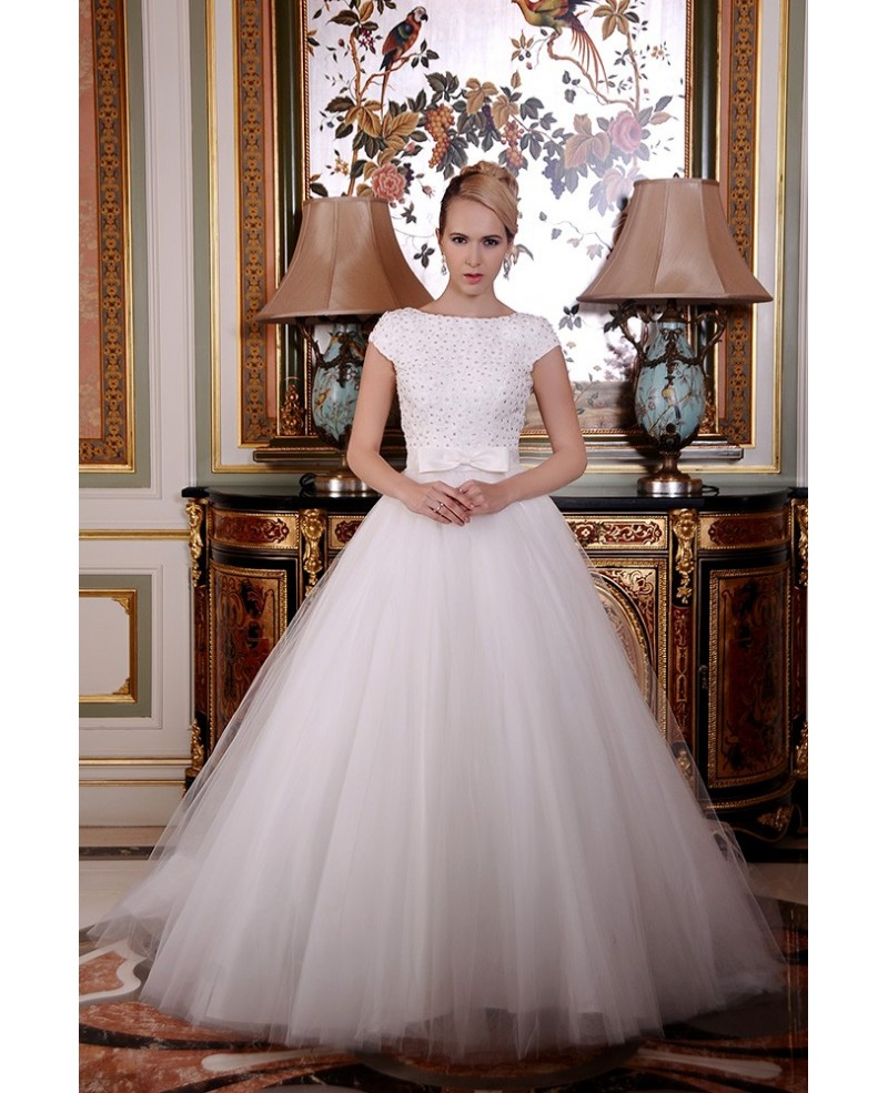 A-Line Scoop Neck Sweep Train Organza Wedding Dress With Beading Bow
