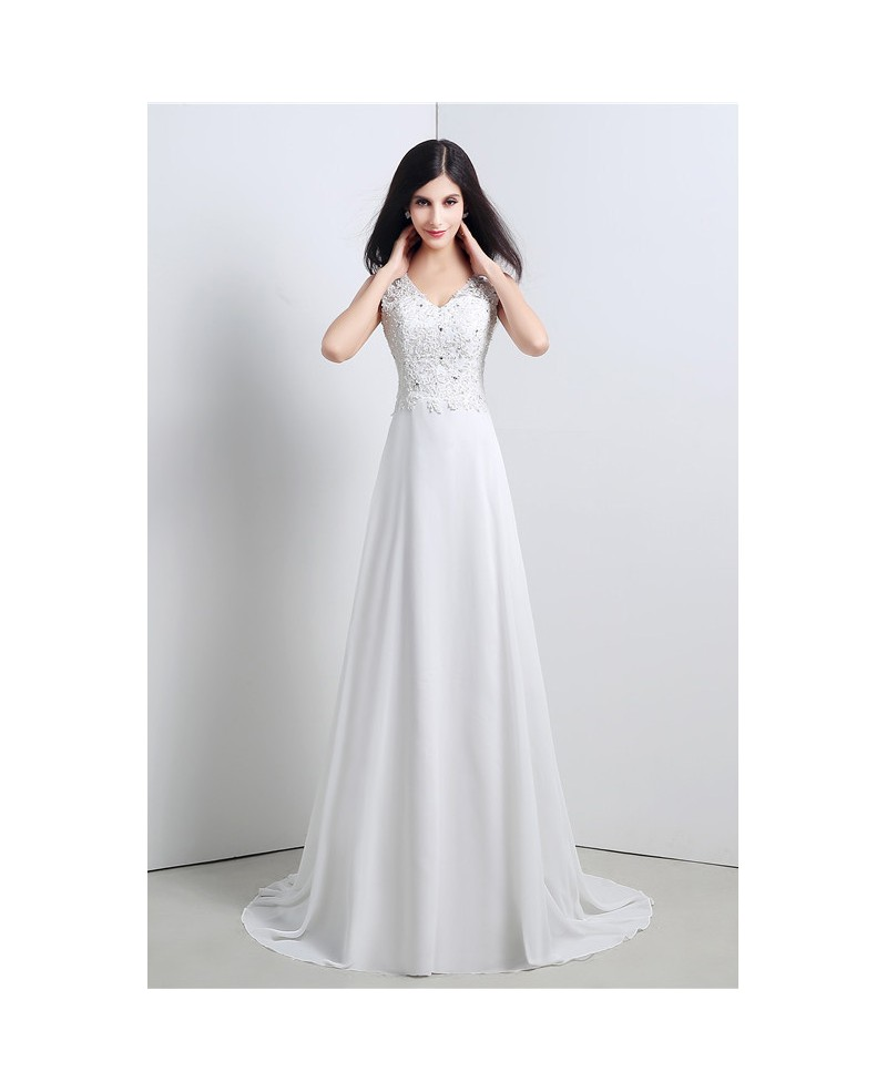 Sheath V-neck Cap-sleeves Sweep Train Wedding Dress