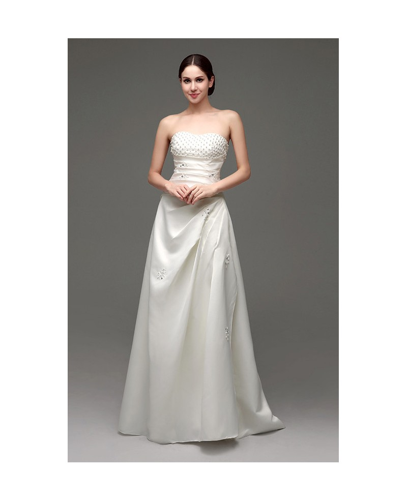 A-line Strapless Floor-length Wedding Dress