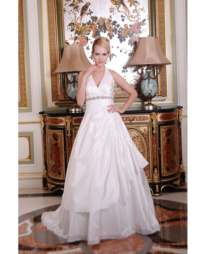 Ball-Gown Halter Chapel Train Satin Wedding Dress With Beading Ruffle
