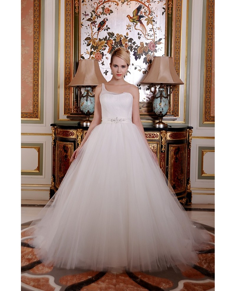 Ball-Gown One Shoulder Cathedral Train Organza Wedding Dress With Beading Ruffle