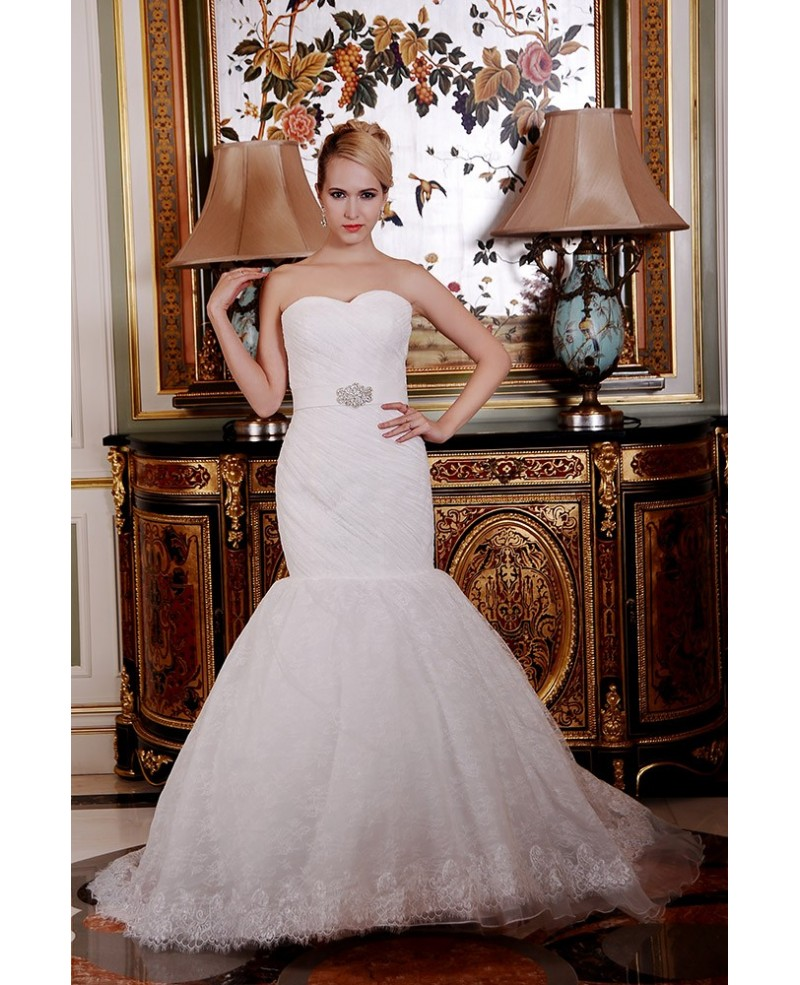 Mermaid Sweetheart Court Train Lace Wedding Dress With Beading Pleated