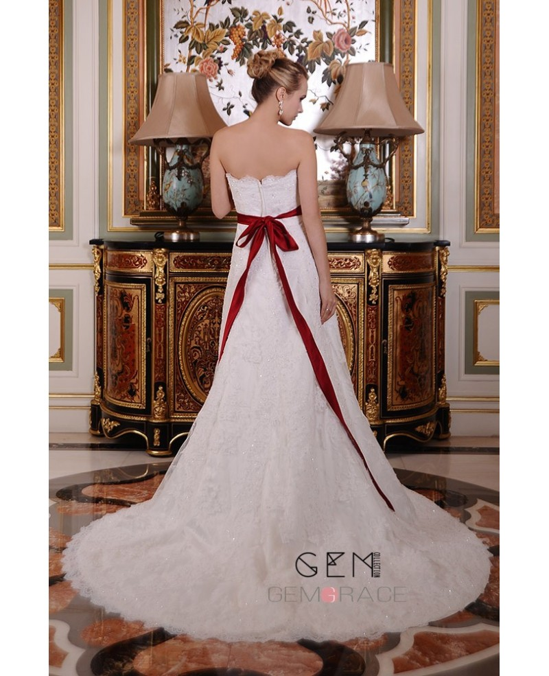 A-Line Sweetheart Chapel Train Lace Wedding Dress With Beading Bow