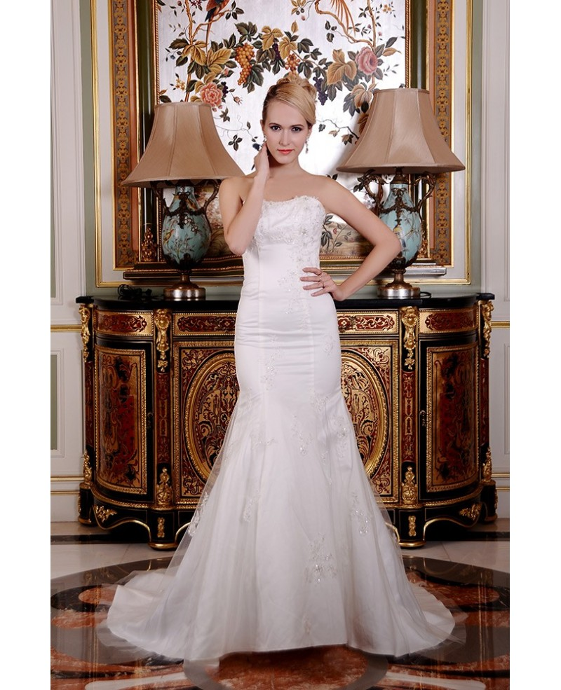 Mermaid Strapless Court Train Satin Tulle Wedding Dress With Beading Appliques Lace