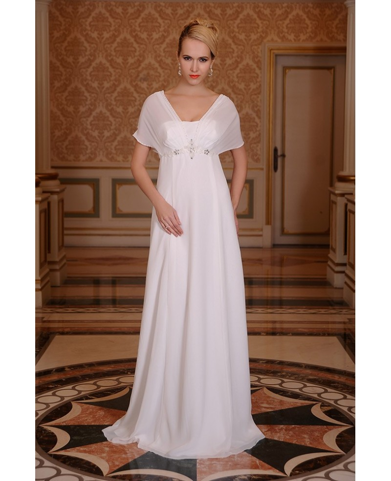 A-Line Square Neckline Floor-Length Chiffon Wedding Dress With Beading Ruffle