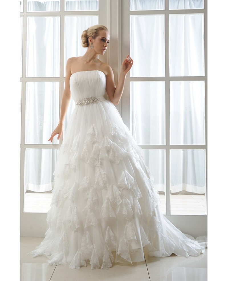 Ball-Gown Strapless Court Train Organza Wedding Dress With Ruffles Appliques Lace
