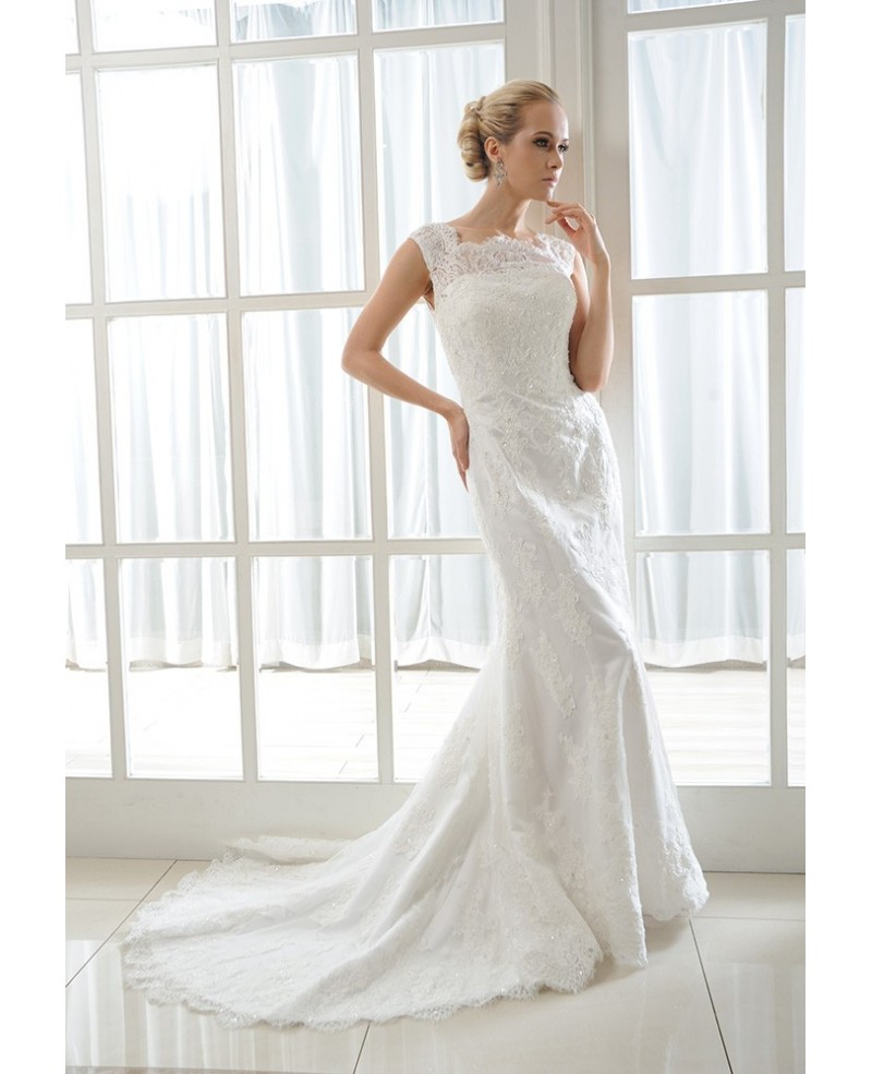 Mermaid Scoop Neck Court Train Tulle Wedding Dress With Beading Appliques Lace