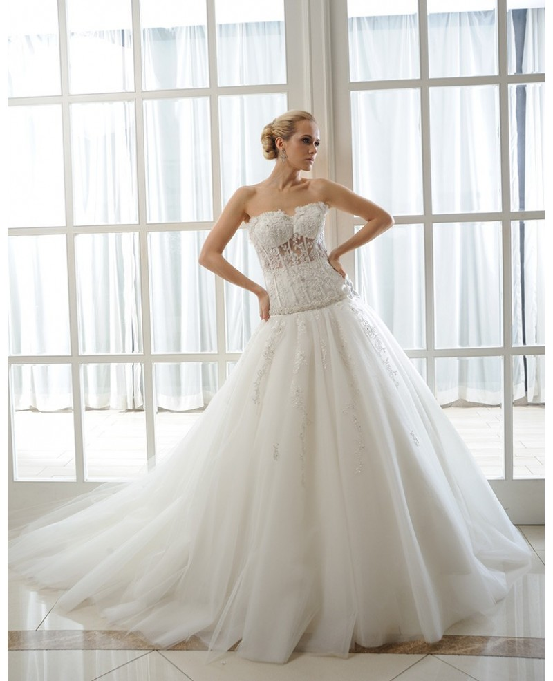 Ball-Gown Sweetheart Cathedral Train Tulle Wedding Dress With Beading Appliques Lace