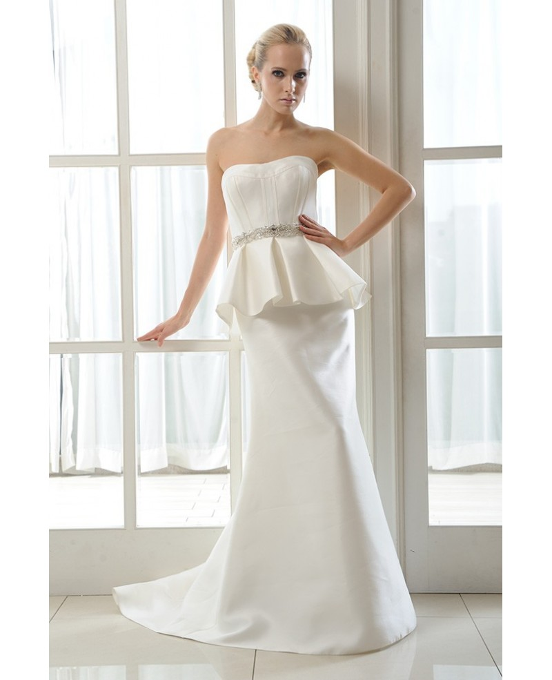 Mermaid Strapless Sweep Train Satin Wedding Dress With Beading