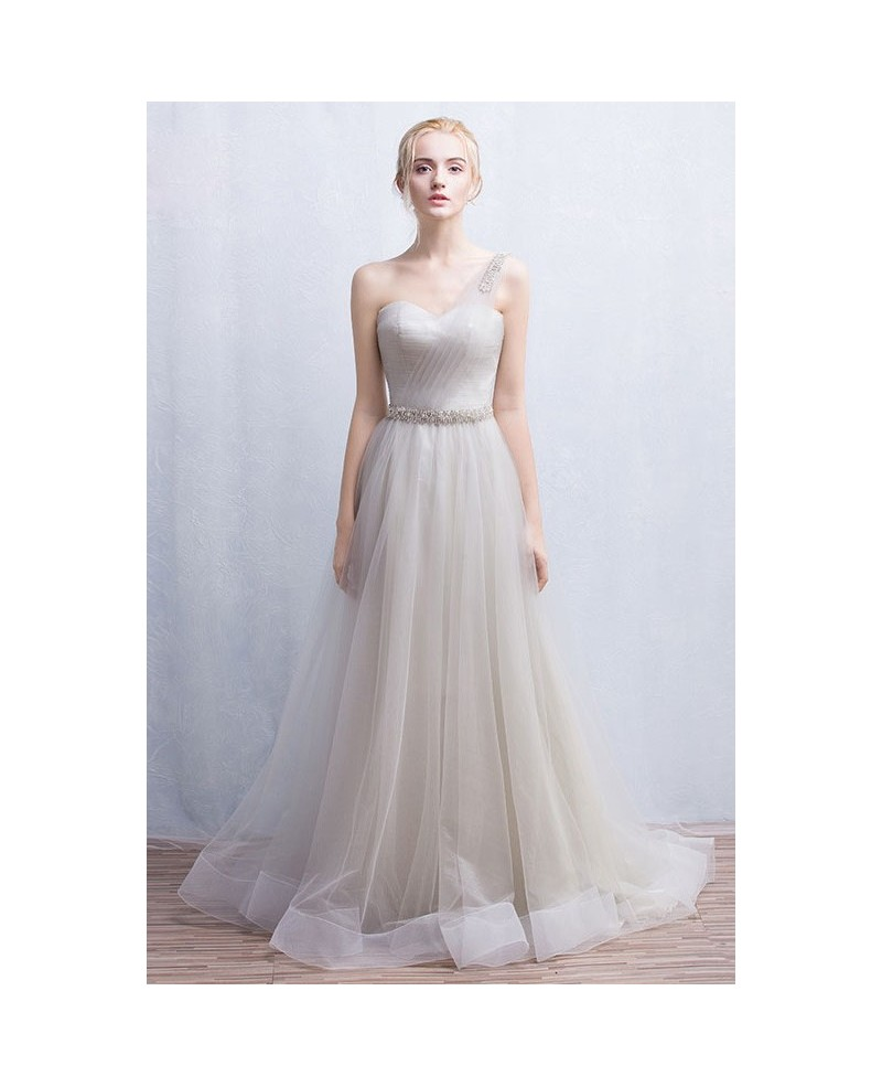 Graceful A-Line One-Shoulder Floor-length Tulle Wedding Dress With Beading