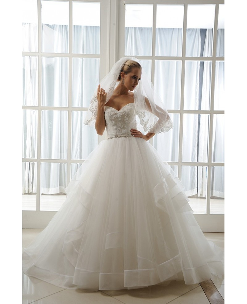 Ball-Gown Sweetheart Cathedral Train Tulle Wedding Dress With Beading Appliques Lace Ruffles