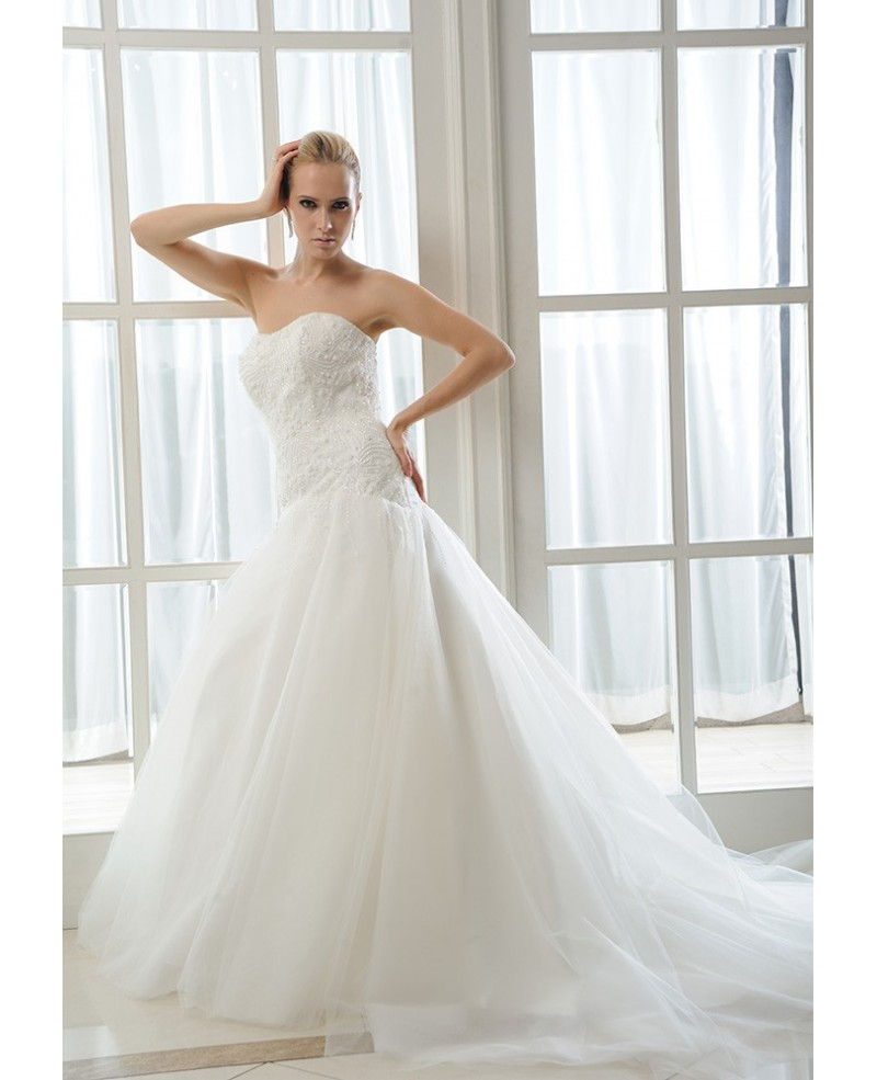 Mermaid Sweetheart Chapel Train Tulle Wedding Dress With Beading