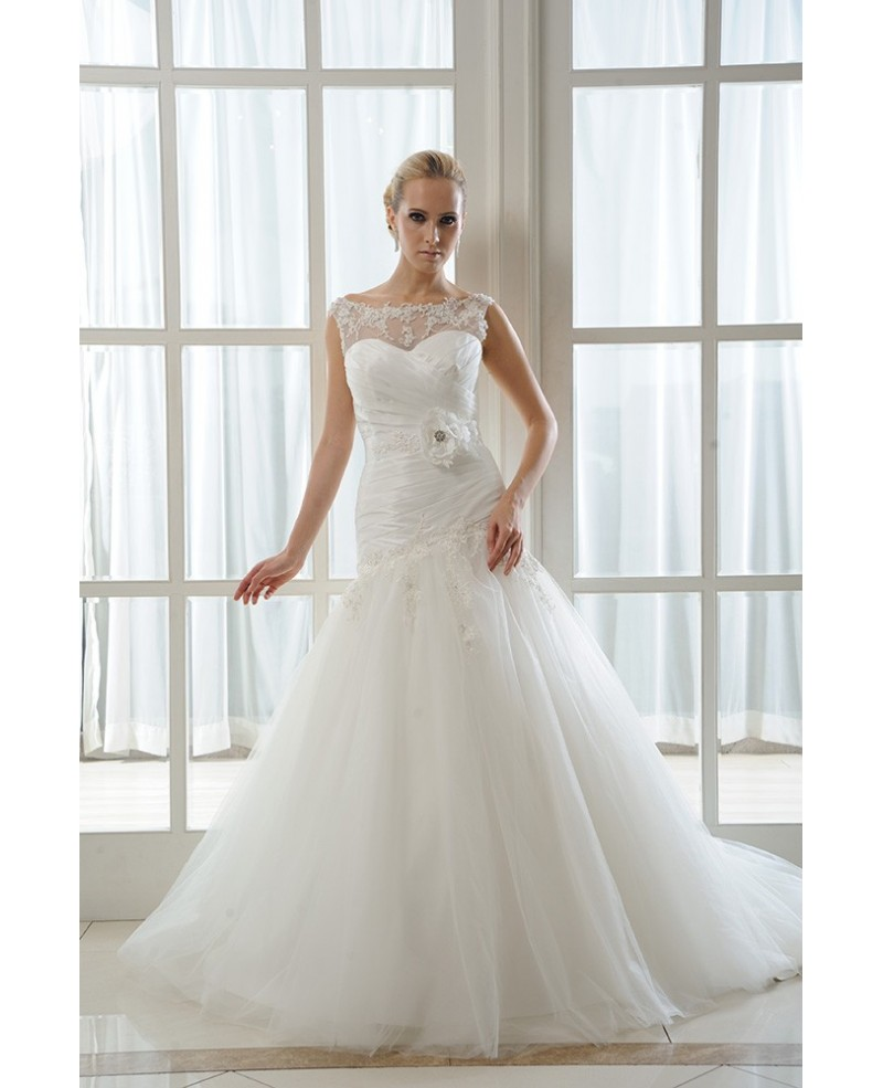 Mermaid Scoop Neck Court Train Tulle Wedding Dress With Beading Pleated Appliques Lace
