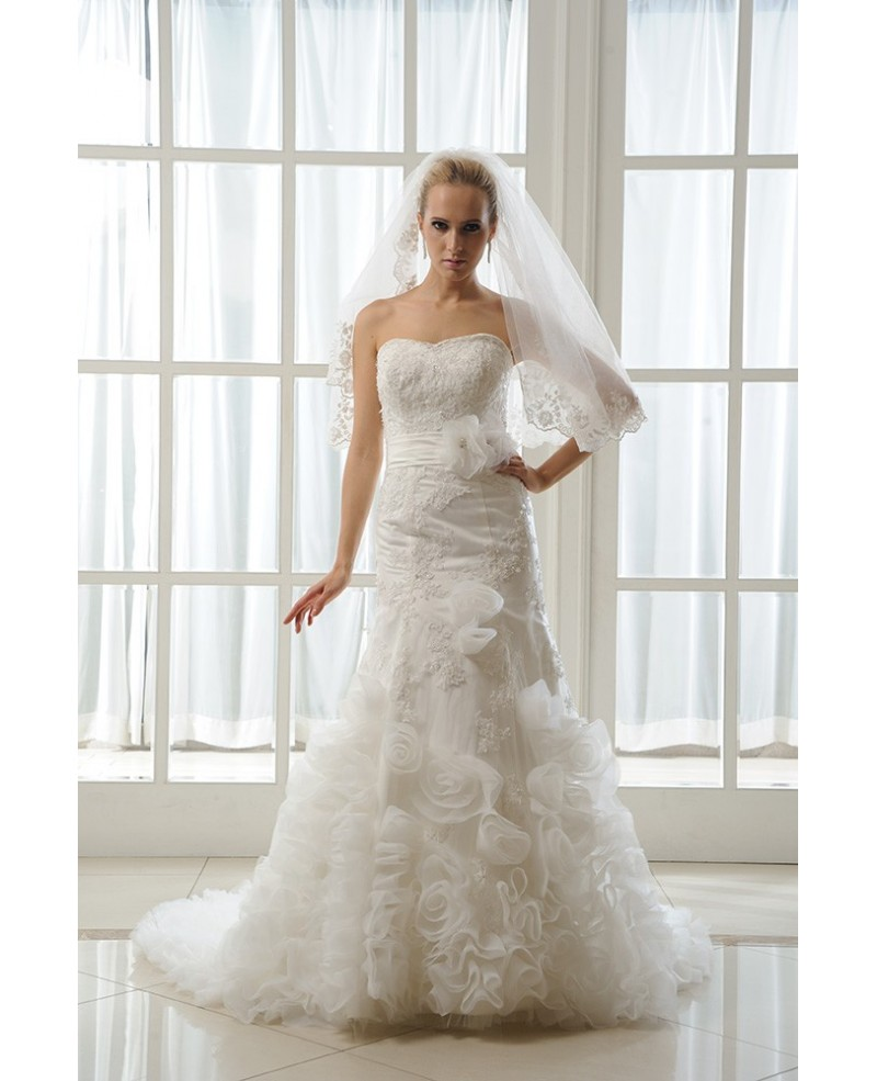 Mermaid Sweetheart Court Train Satin Wedding Dress With Beading Appliques Lace Cascading Ruffles