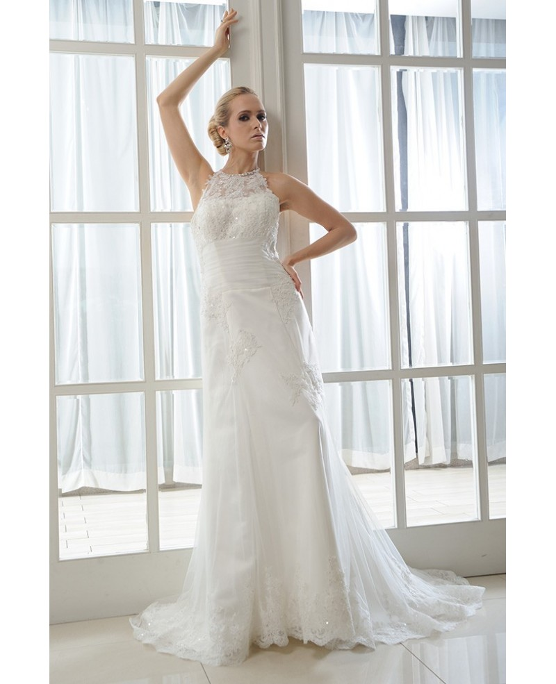 Mermaid Halter Sweep Train Tulle Wedding Dress With Beading Appliques Lace