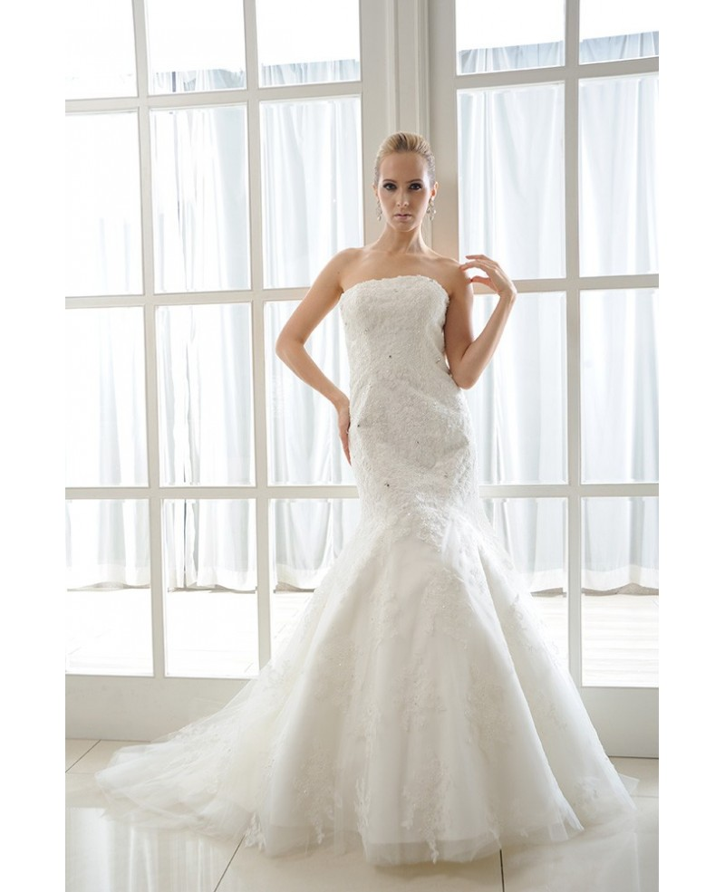 Mermaid Strapless Chapel Train Tulle Wedding Dress With Beading Appliques Lace