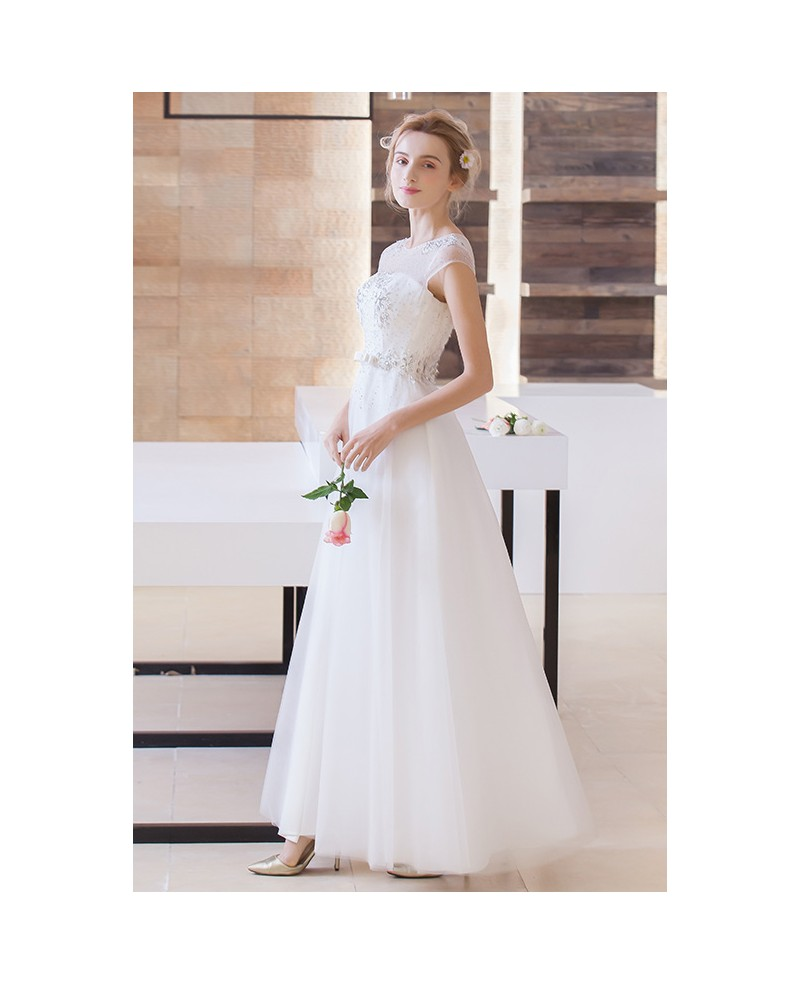 Modest A-Line Scoop Neck Floor-Length Organza Wedding Dress With Beading