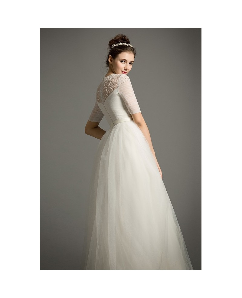 Dereamy Empire Scoop Neck Floor-Length Tulle Wedding Dress With Appliques Lace