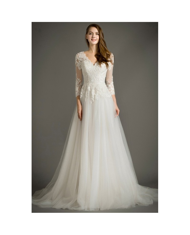 Feminine A-Line V-Neck Sweep Train Tulle Wedding Dress With Appliques Lace
